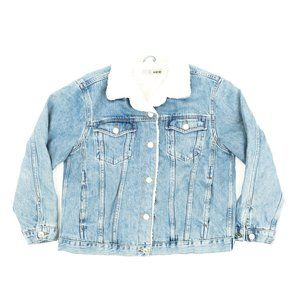 TopShop Moto Trucker Jacket Denim Sherpa Blue 10